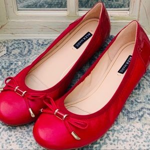 Alex Marie Leather Sadee Bow Ballet Flats Red